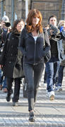 Helena Christensen poses on Place Vendome in Paris 24-11-2010