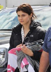Alexandra Daddario on the set of 'The Layover' 29th April '15